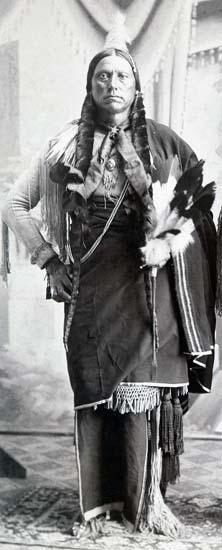 Quanah Parker in ceremonial garb, ca. 1890.