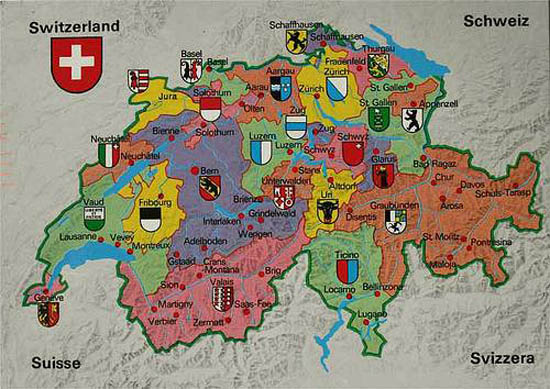 "Switzerland is divided into 26 ""cantons,"" each of which enjoys considerable autonomy."