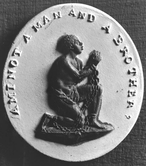 """An engraving used by anti-slavery campaigners in the 1700s. It reads """"Am I Not A Man And A Brother?"""""""