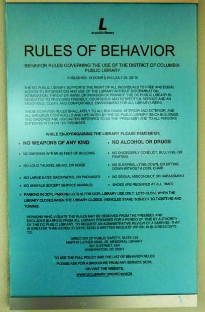 Anacostia Library Rules of Behavior
