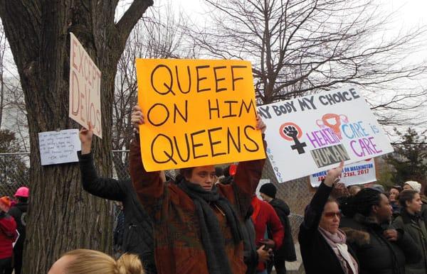 Vulgar anti-Trump Protesters