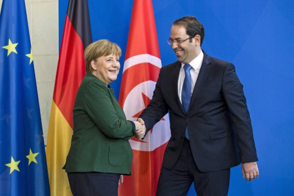 Youssef Chahed and Angela Merkel