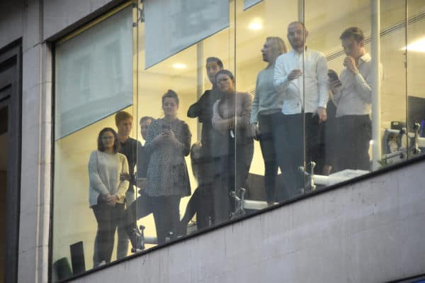 Office workers watching police after London Bridge attack