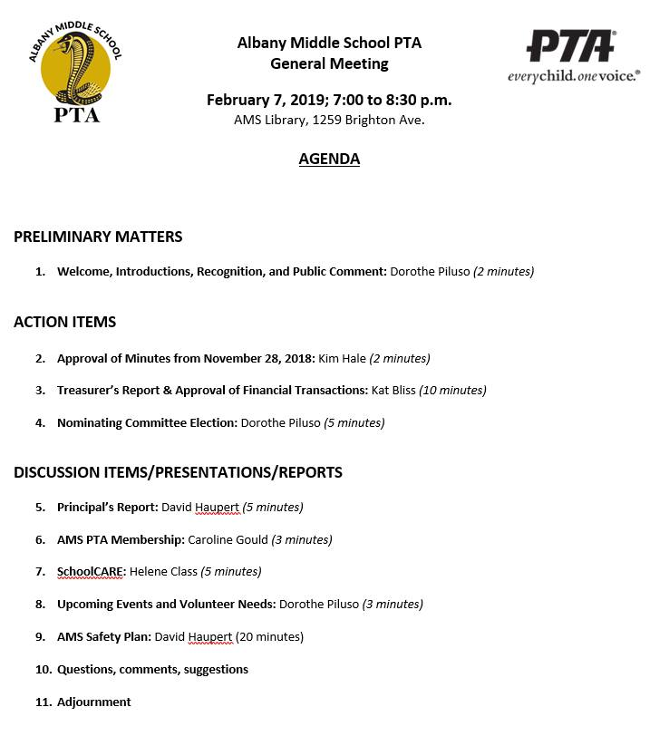 AMS PTA Meeting – Thursday, February 7th – Albany Middle