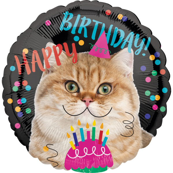 Standard Happy Birthday Cat Foil Balloon Round S40 Packed 43cm Amscan Europe