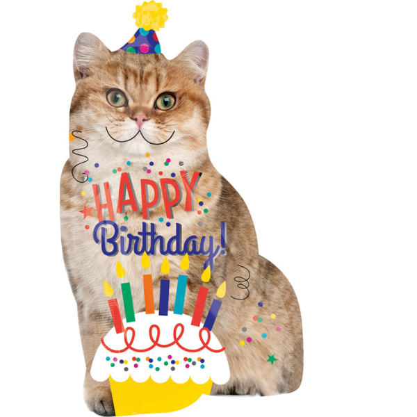 Supershape Happy Birthday Cat Foil Balloon P35 Packed 45 X 83cm Amscan Europe