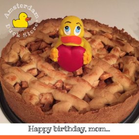 Celebrating mom's 70th birthday with a homemade original Dutch apple pie. Many happy returns of the day!
