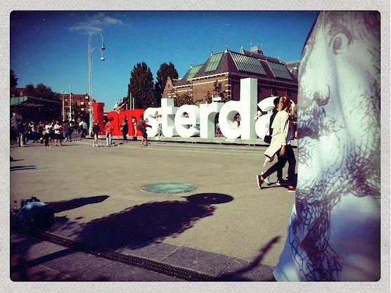 Rembrandt van Rijn took a selfie in front of the Rijksmuseum in Amsterdam.