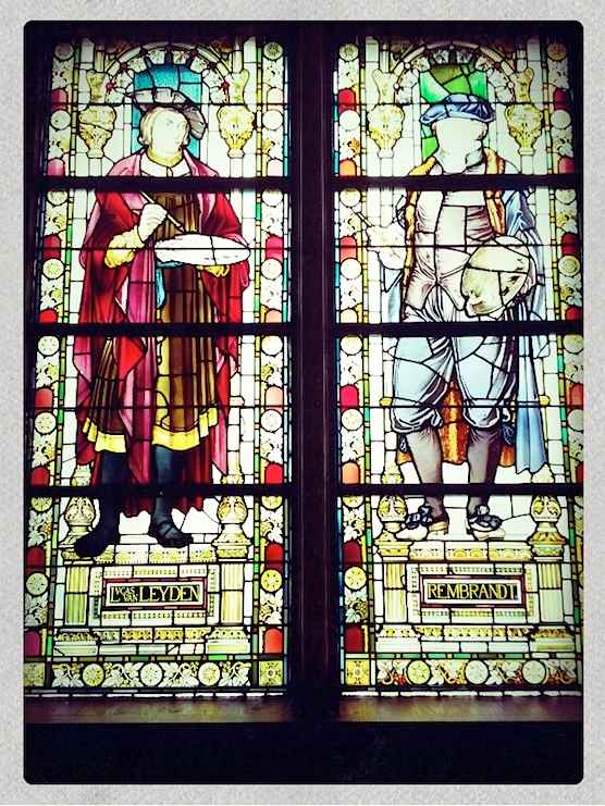 Amsterdam's Rijksmuseum shows Rembrandt in stained glass.