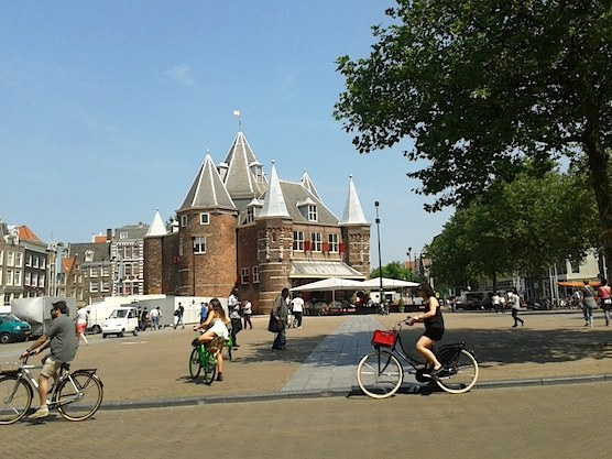 There's always something happening on the New Market in Amsterdam, Netherlands.