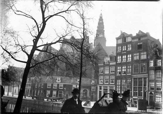 """Amsterdam Red Light District History. """"De Wallen"""" in 1886 in front of the Old Church."""