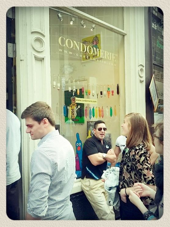 The front of world's first condom shop. The Condomerie in Amsterdam.