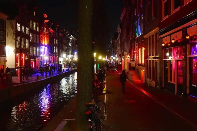 Amsterdam's Red Light District At Night