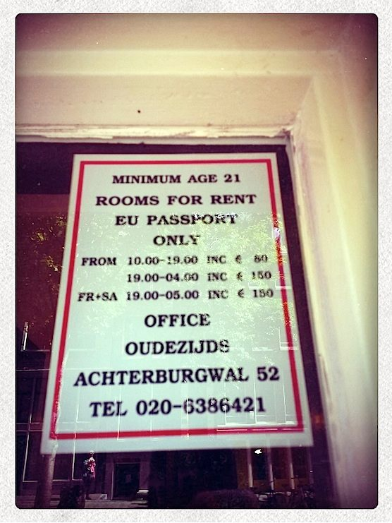 Prices to rent a window brothel in the Red Light District.