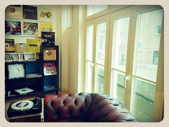 This store has it all: A Chesterfield, a turn table, vinyl records, lovely view..