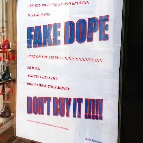 Fake drugs in Amsterdam Red Light District