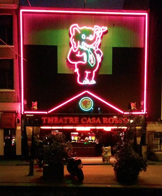 Erotic theatre Casa Rosso in the Red Light District of Amsterdam.