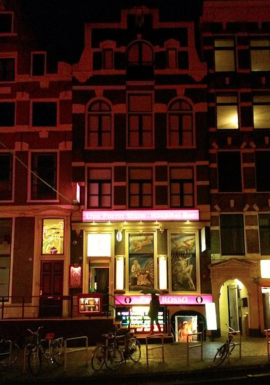 Hospital Bar is an erotic club in the Red Light District. It has strip tease and lap dancers.