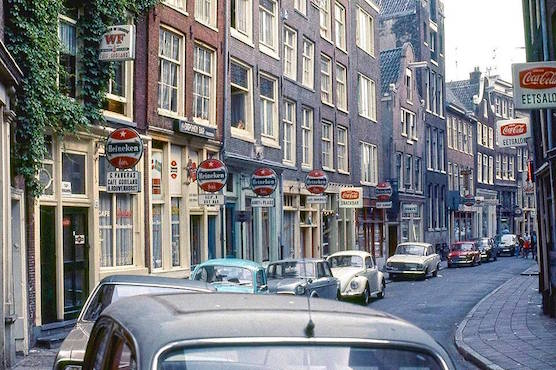 Amsterdam Red Light District Zeedijk in 70's. Fashion Store Patta