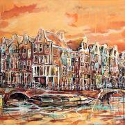 Amsterdam-Souvenir-Art-Painting-Canals-Postcards-Orange-small