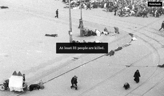 Amsterdam, Dam Square, 7 May 1945. 31 people killed.