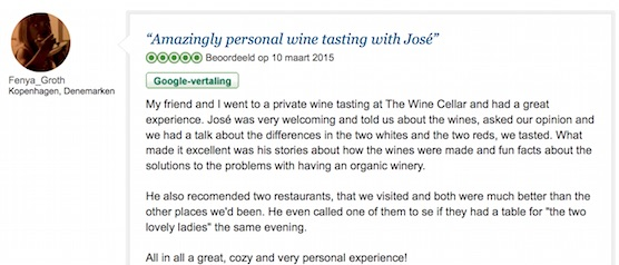 TripAdvisor review secret wine cellar Amsterdam Centre