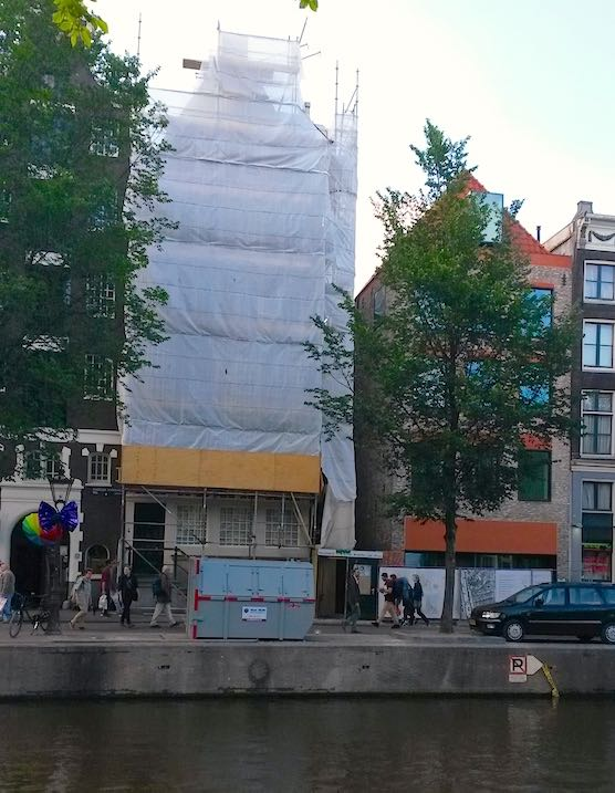 Hidden church in Amsterdam Red Light District during renovation 2015.