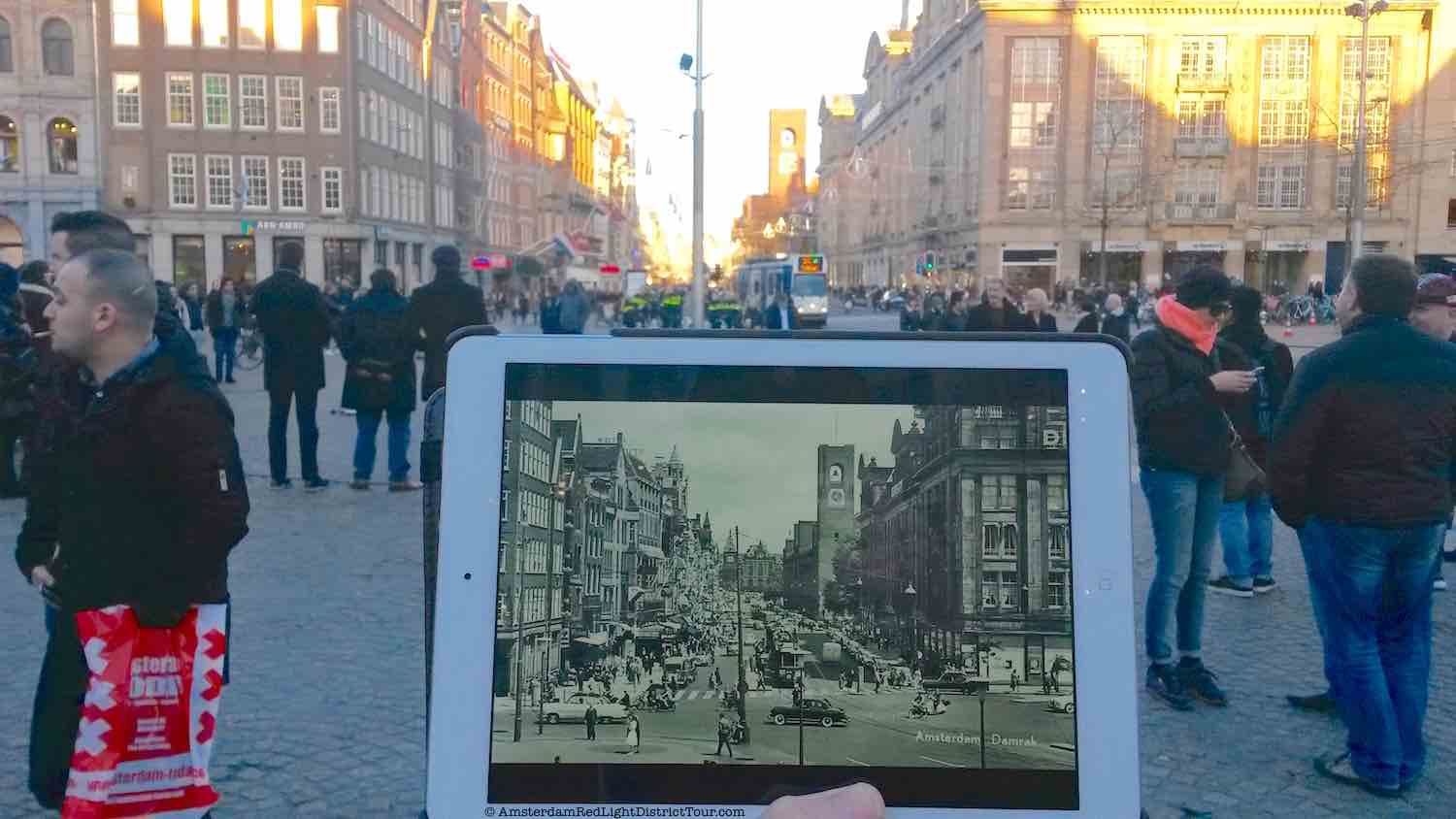 Amsterdam Red Light District Now and Then: Dam Square