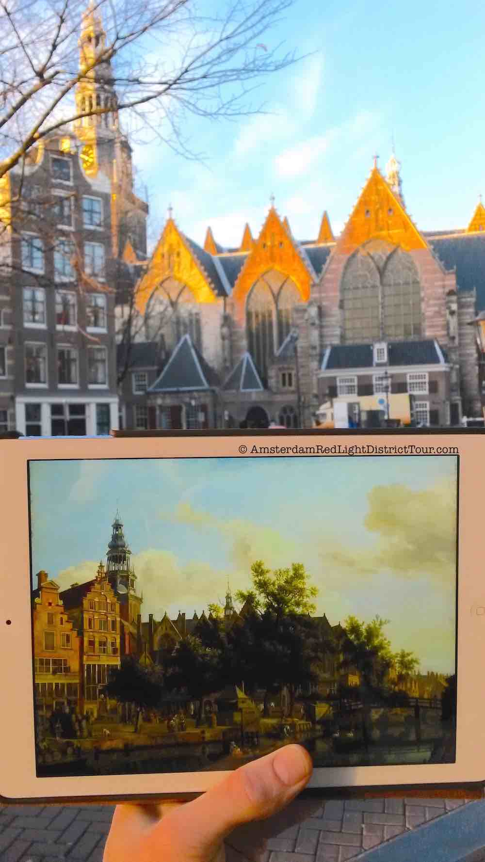 Amsterdam Red Light District Now and Then: The Old Church and Oudezijds Voorburgwal