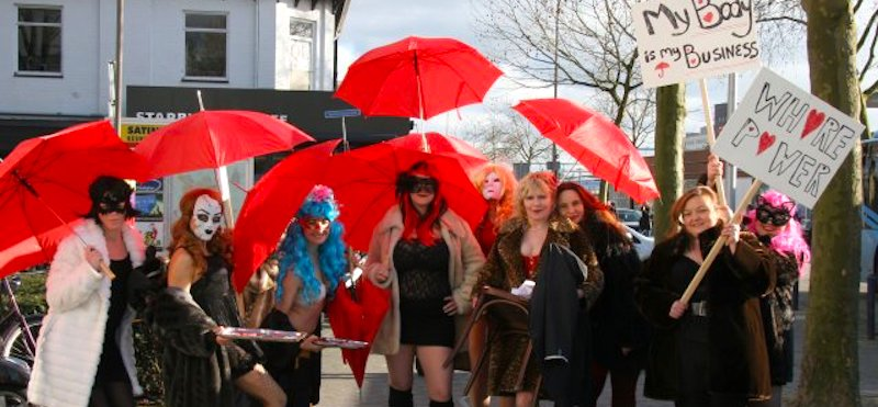 Sex Worker Exhibition Amsterdam united under a red umbrella