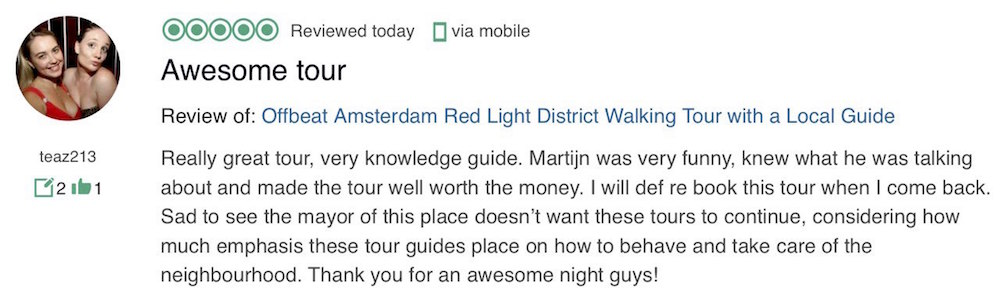 Review Amsterdam Red Light District Tour