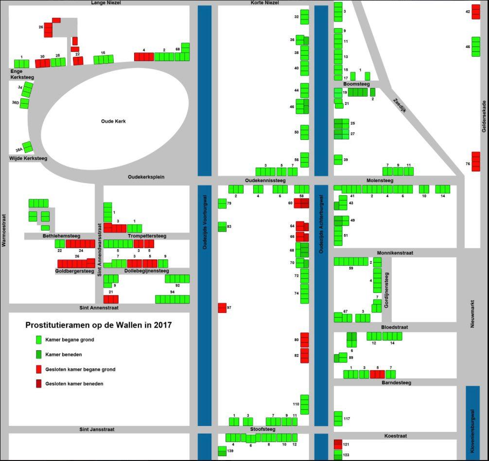 Amsterdam Red Light District Windows Map