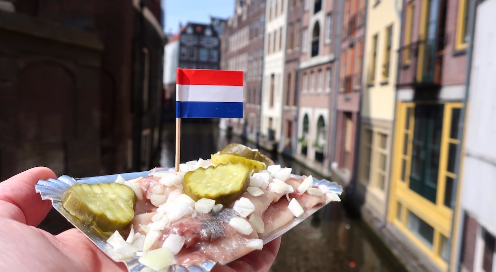 Amsterdam Red Light District eat some herring
