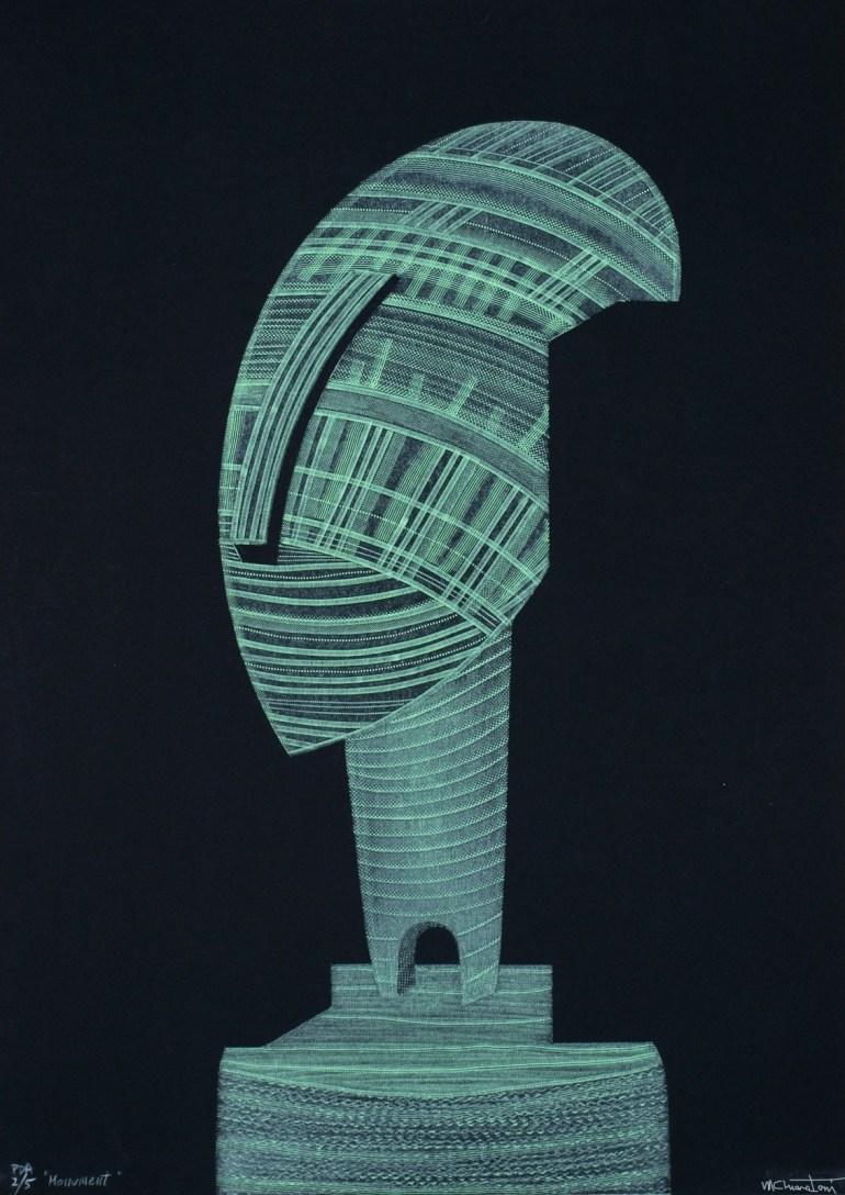 Monument, © Maria Chiara Toni, drypoint, roulette, perforation on forex, 70x50 cm, 2015, ΙΤΑΛΙΑ