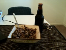 Black beans and rice, with Root Beer. A very Cuban-American meal, I must say!