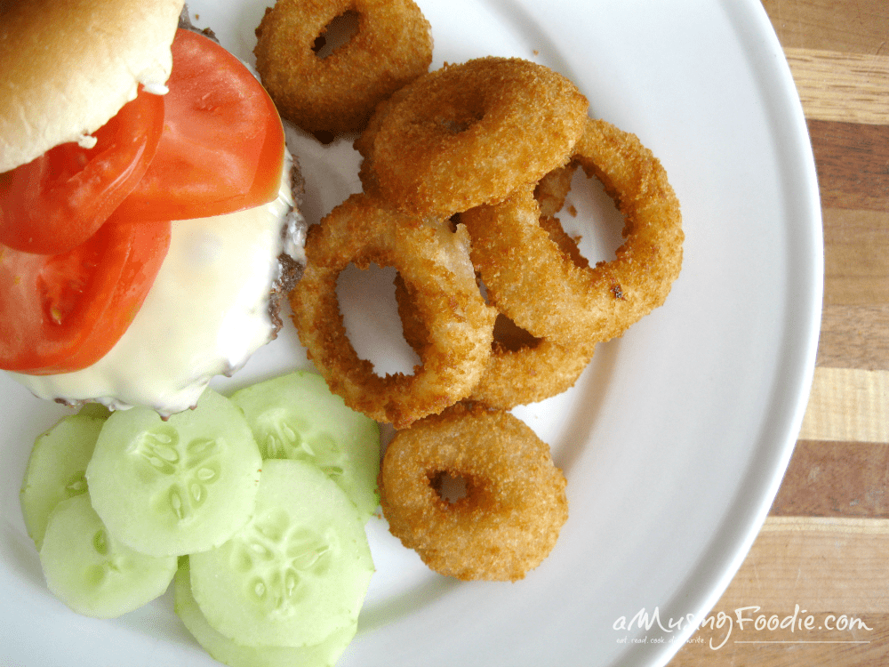 Homemade Cheeseburgers with Alexia Onion Rings