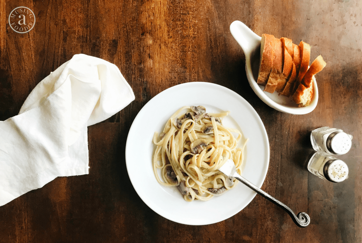 Enjoy a vegan fettuccine alfredo, full of savory sautéed mushrooms, that's just as creamy and comforting as a classic recipe.