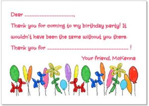 Birthday Balloon Flat Notecard