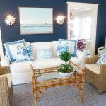 Beach House Red White And Blue Decorations In Living And