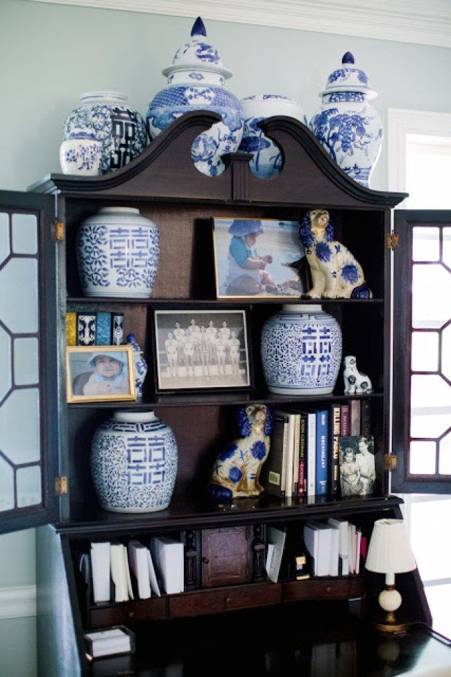 blue and white ginger jar collection