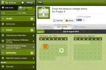 Life Game users select the actions they want to take and determine how to schedule them