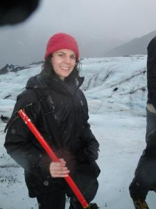Me in my climbing gear on the glacier, with my pickaxe