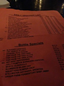 The rotating draft and bottle specials at the end of August 2014.