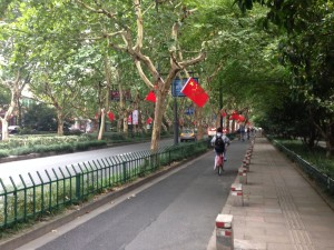 Boulevard with bike lanes, vehicle lanes, and lots of China pride.