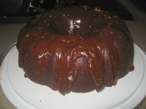 Made as the recipe dictates, with a Bundt pan and coffee-based chocolate ganache.