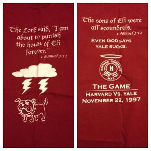 "T-shirt from ""The Game,"" Harvard vs. Yale, my freshman year of college. Hilarious but no longer even comfortable for bed, so it lives on in a photo."