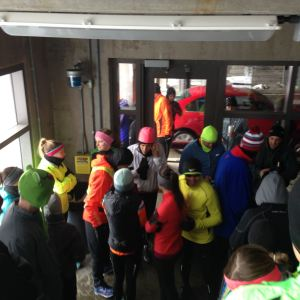 Cold runners awaiting their leader.