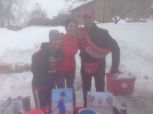 Me and two of the DFMC volunteers manning a water and fuel station in Newton. They are so awesome. Poor photo quality is from the cold fogging my camera lens!