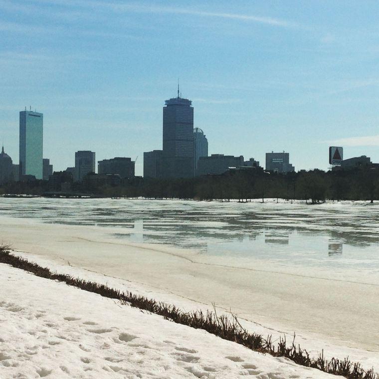 Snowy Boston as seen on a river run.