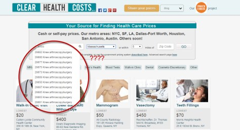"Results for searching ""knee"" on Clear Health Costs."